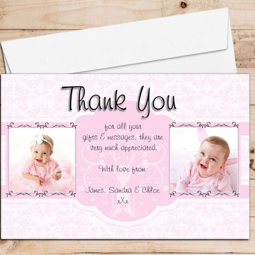 10 Personalised Birth / Christening / Baptism Thank you PHOTO Cards N207